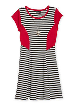 Girls 4-6x Striped Skater Dress with Heart Necklace - 1614051060047