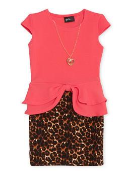 Girls 4-6x Cap Sleeve Peplum Leopard Print Dress with Necklace - 1614051060049