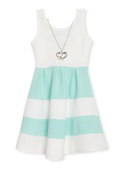 Girls 4-6x Sleeveless Color Block Caged Back Skater Dress with Necklace - 1614051060050