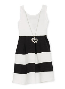 Girls 4-6x Texture Knit Color Block Dress with Caged Back and Necklace - 1614051060051