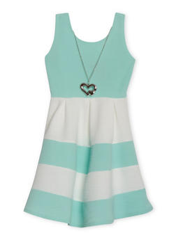 Girls 4-6x Textured Knit Color Block Dress with Necklace - 1614051060052