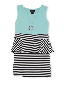 Girls 4-6x Striped Textured Knit Peplum Dress with Necklace - 1614051060053