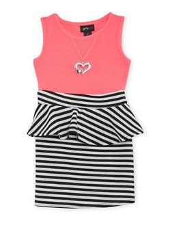Girls 4-6x Striped Textured Knit Peplum Dress with Necklace - NEON PINK - 1614051060053