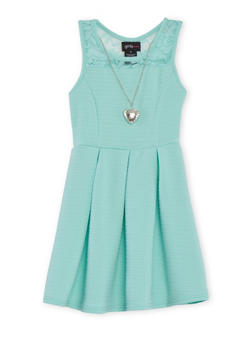 Girls 4-6x Sleeveless Textured Knit Skater Dress with Lace Trim - 1614051060055