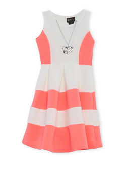 Girls 4-6x Color Block Skater Dress with Necklace - NEON PINK - 1614051060056