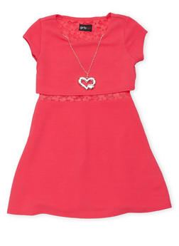 Girls 4-6x Texture Knit Skater Dress with Lace Midriff Detail and Necklace - 1614051060060