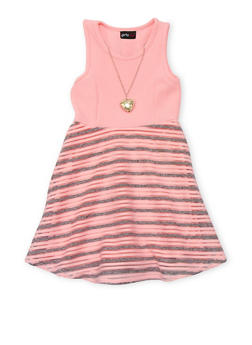Girls 4-6x Sleeveless Shadow Stripe Dress with Necklace - 1614051060061