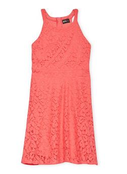 Girls 4-6x Sleeveless Lace Skater Dress - CORAL - 1614051060062