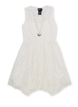 Girls 4-6x Lace Skater Dress with Necklace - 1614051060063