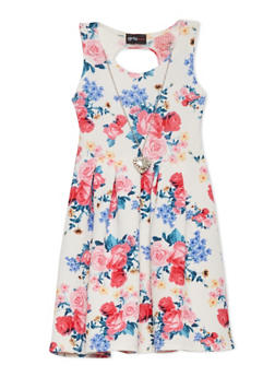 Girls 4-6x Floral Skater Dress with Necklace - 1614051060065