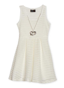 Girls 4-6x Shadow Stripe Skater Dress with Necklace - IVORY - 1614051060066