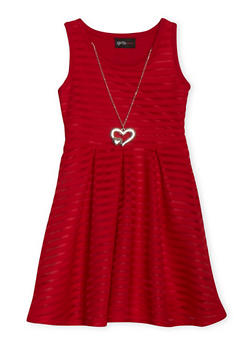 Girls 4-6x Shadow Stripe Skater Dress with Necklace - 1614051060066