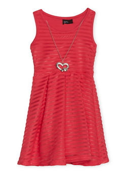 Girls 4-6x Shadow Stripe Skater Dress with Necklace - CORAL - 1614051060066