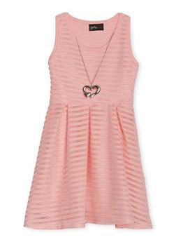 Girls 4-6x Shadow Stripe Skater Dress with Necklace - BLUSH - 1614051060066