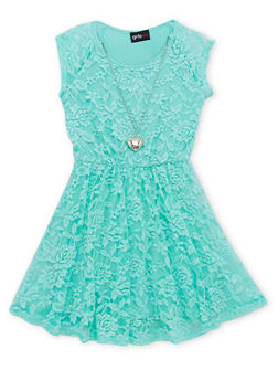 Girls 4-6x Stretch Lace Skater Dress with Necklace - 1614051060067