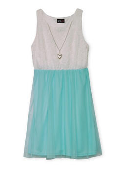 Girls 4-6x Sleeveless Lace Dress with Tulle Skirt and Necklace - AQUA - 1614051060068