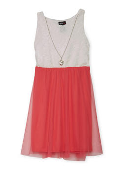 Girls 4-6x Sleeveless Lace Dress with Tulle Skirt and Necklace - CORAL - 1614051060068