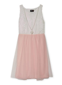 Girls 4-6x Sleeveless Lace Dress with Tulle Skirt and Necklace - 1614051060068