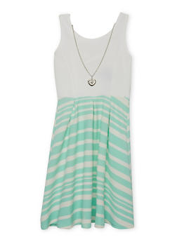 Girls 4-6x Striped Lattice Back Dress with Necklace - AQUA - 1614051060071