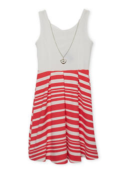 Girls 4-6x Striped Lattice Back Dress with Necklace - CORAL - 1614051060071