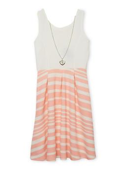 Girls 4-6x Striped Lattice Back Dress with Necklace - BLUSH - 1614051060071