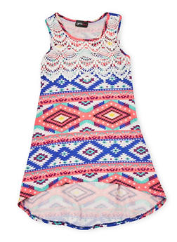 Girls 4-6x Multi Color High Low Dress with Crochet Detail - 1614051060073