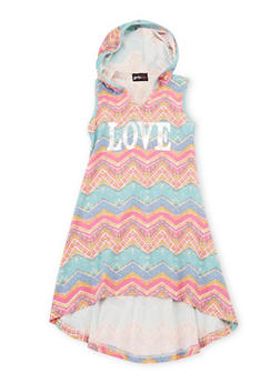 Girls 4-6x Hooded Love Graphic High Low Dress - 1614051060074