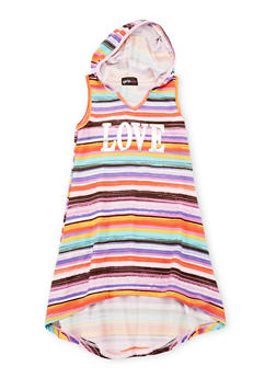 Girls 4-6X Striped Love Graphic High Low Dress with Hood - MULTI COLOR - 1614051060075
