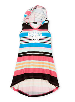 Girls 4-6X Striped Love Graphic High Low Dress with Hood - LITTLE COLOR - 1614051060075
