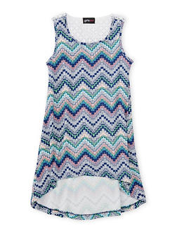 Girls 4-6x Printed High Low Dress with Crochet Detail - NAVY - 1614051060076