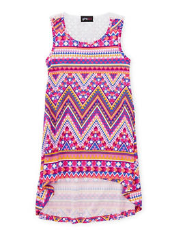 Girls 4-6x Printed High Low Dress with Crochet Detail - FUCHSIA - 1614051060076