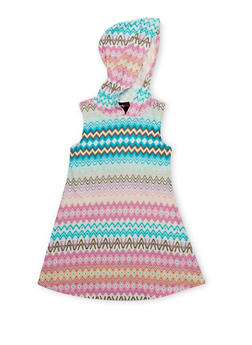Girls 4-6X Printed Sleeveless Dress with Hood - 1614051060077