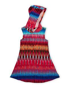 Girls 4-6X Printed Sleeveless Dress with Hood - FUCHSIA - 1614051060077