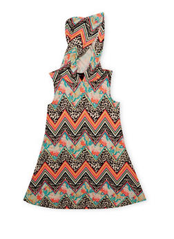 Girls 4-6X Printed Sleeveless Dress with Hood - MULTI COLOR - 1614051060077