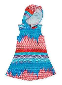 Girls 4-6x Printed Tank Dress with Hood - PINK - 1614051060078
