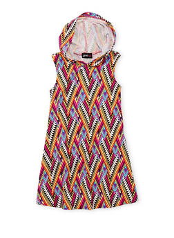 Girls 4-6x Printed Tank Dress with Hood - MULTI COLOR - 1614051060078