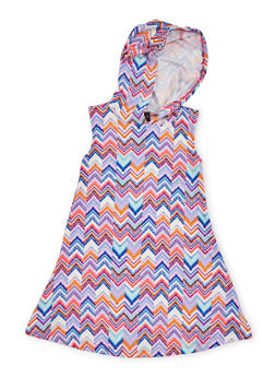 Girls 4-6x Printed Sleeveless Dress with Hood - PINK - 1614051060079