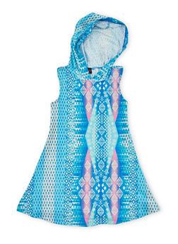 Girls 4-6x Printed Sleeveless Dress with Hood - BLUE - 1614051060079