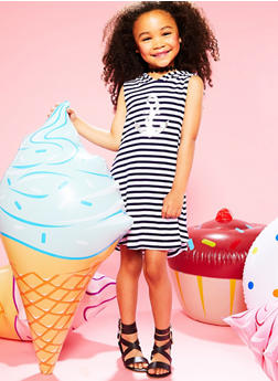 Girls 4-6x Graphic Striped Dress with Hood - 1614051060081