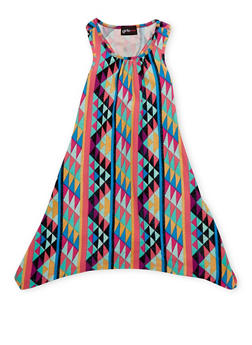 Girls 4-6x Multi Color Printed Tank Dress - 1614051060082
