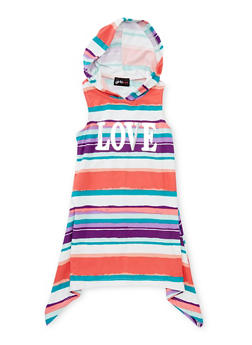 Girls 4-6x Striped Love Graphic Tank Dress with Hood - CORAL - 1614051060083