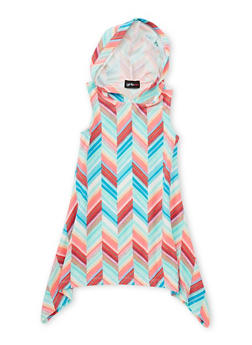 Girls 4-6x Mixed Print Sharkbite Dress with Hood - PINK - 1614051060084
