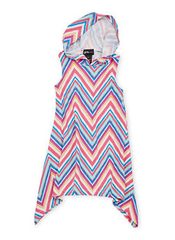 Girls 4-6x Mixed Print Sharkbite Dress with Hood - FUCHSIA - 1614051060084