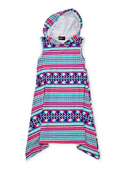 Girls 4-6x Mixed Print Sharkbite Dress with Hood - MULTI COLOR - 1614051060084