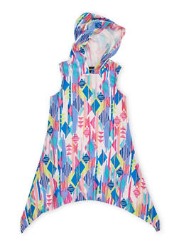 Girls 4-6x Multicolored Sharkbite Dress with Hood - 1614051060085
