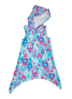 Girls 4-6x Multicolored Sharkbite Dress with Hood - BLUE - 1614051060085