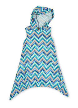 Girls 4-6x Multicolored Sharkbite Dress with Hood - MULTI COLOR - 1614051060085