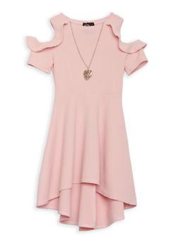 Girls 4-6x Cold Shoulder Skater Dress with Necklace - 1614051060086