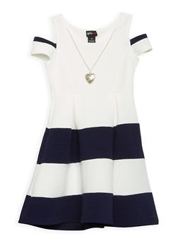 Girls 4-6x Textured Knit Cold Shoulder Skater Dress - 1614051060087