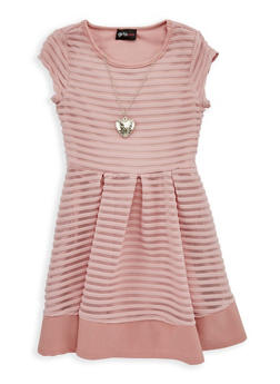Girls 4-6x Striped Mesh Skater Dress with Necklace - 1614051060088